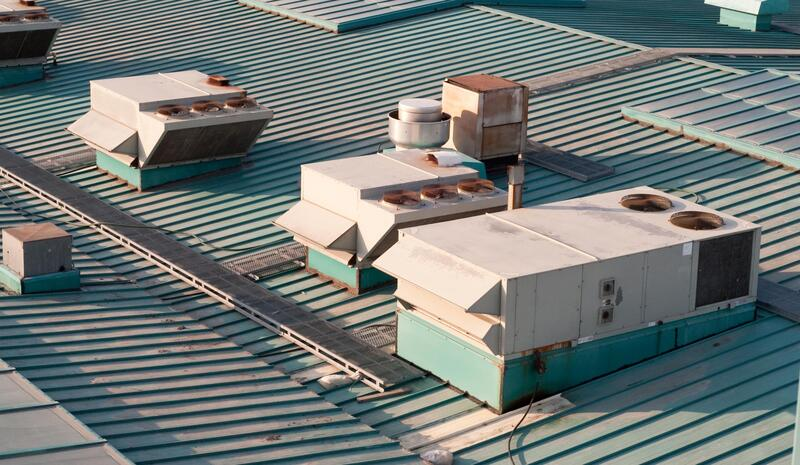 close up commercial roofing project